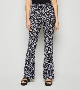 Black Floral Plissé Flared Trousers